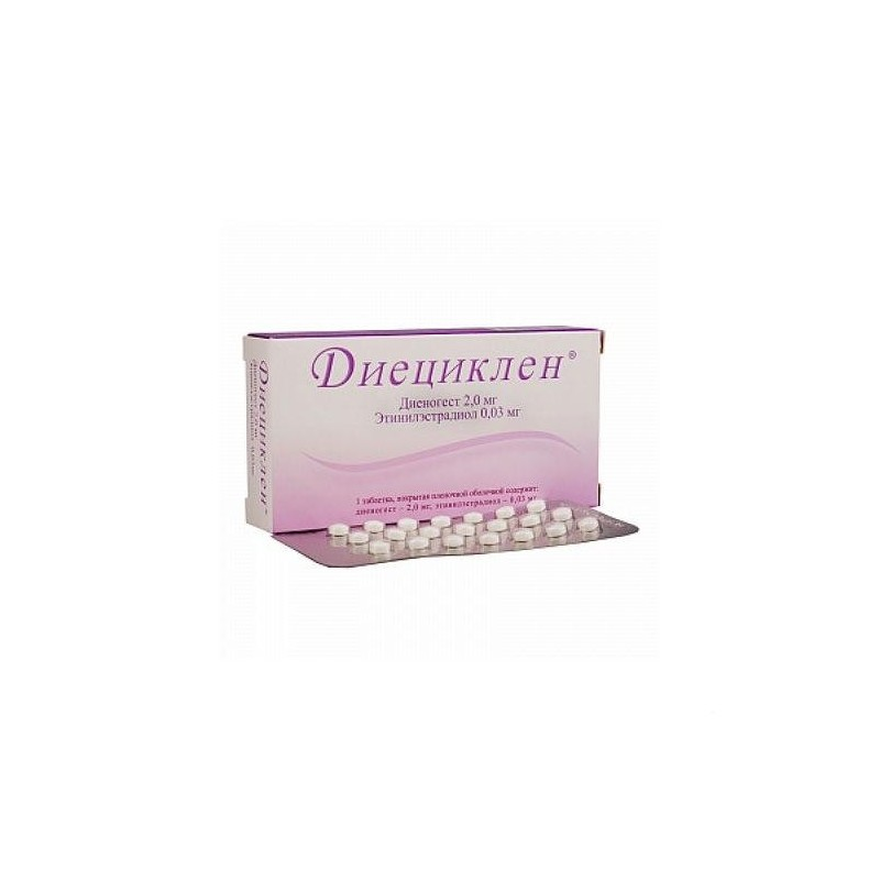 Buy Diecyclen pills 2 mg + 0.03 mg 63 pcs