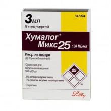 Buy Humalog Mix 25 cartridge 100 IU/ml, 3 ml, 5 pcs