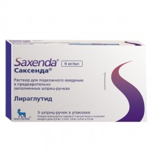 Buy Saxenda solution 6 mg/ml cartridge in a pen syringe 3 ml 5 pcs